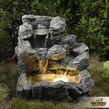 water fountain outdoor garden indoor decor lights light backyard yard