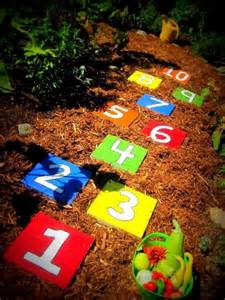 give the kids something fun to do with this colorful hopscotch game