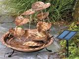 solar powered water fountain for small garden with golden leaf design