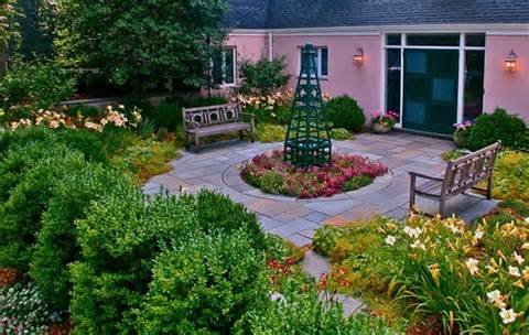 English Circular Patio GardenGarden DesignLiquidscapesPittstown, NJ