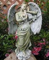 graceful memorial angel holding baby garden statue figurine guardian