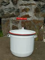 ... Vintage Camping Bucket, Cookware, White enamel planter, country garden