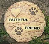 pet memorial garden stepping stone with a paw print and heart design