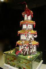 Garden wedding cake Japanese pagoda with koi fish accents in sugar ...