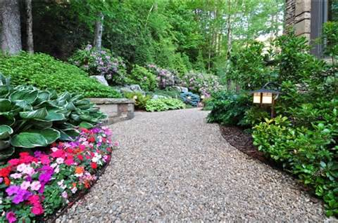 this gravel path provides a very natural walkway and helps to handle