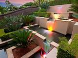 modern garden design using brick with fish pond decorative lighting