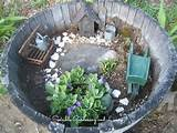 miniature garden in a barrel | Fairy garden container | Pinterest