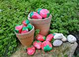 ... rocks, painted rocks with strawberries, creative garden decorations