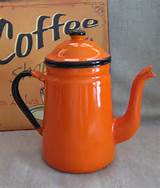 Awesome Orange and Black Retro Enamel Coffee Pot