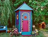 Colorful Garden Shed with Bench | Gardens | Pinterest