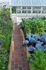in Raised Bed Vegetable Garden with path, greenhouse, brick, raised ...