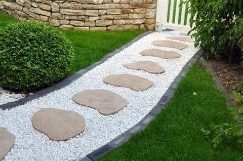 yard landscaping ideas and garden design with stone paths