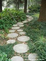 woodland garden path of decorative step stones