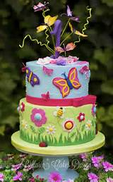 In: Butterflies garden birthday cake in album: Birthday Cakes