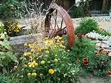 rustic country landscaping ideas wagon wheel landscape