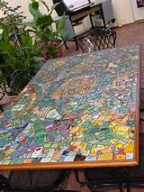 tiled table top, furniture decoration with broken tiles