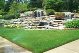 picture of front yard water feature landscaping idea lawn care