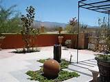 residential zen design for this desert backyard with two bubblers ...