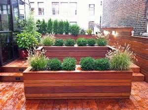 Roof Garden: Terrace Deck, Wood Planter Boxes, Fence, Container Garden ...