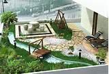 这是一个高档住宅的阳光房内的庭院景观设计的实景 ...