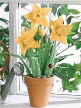 canvas pot of daffodils technique plastic canvas bring the garden ...