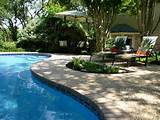 are used for decorating space around the swimming pool landscaping