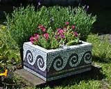 Upcycled mosaic cinder block garden by midcenturymosaics on Etsy