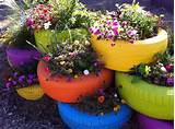 ... gardening - garden ideas - tire planters - painted tires via pinterest