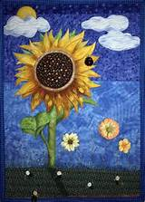 sunflower in my garden mixed media painted pictorial art quilt