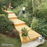 wooden walkway makes an attractive and inexpensive garden path, is ...