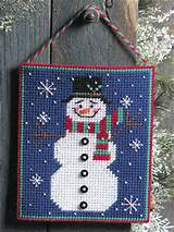 Plastic Canvas - Winter - Cheery Snowman Picture