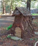 turn an old stump into a fairy house tree house gnome house