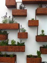 Hanging herb garden made of flowerpots and wooden planks.