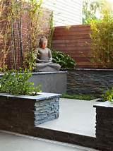 zen garten terrasse schiefer bambus pflanzen buddha statue