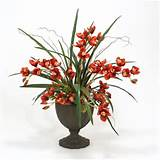 distinctive designs 9100a silk rust cymbidium orchids in a tall iron
