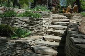 limestone retaining walls ledgestone steps terrace