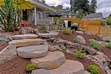 Gravel Courtyad - Water fall - Slab stone steps - privacy screens ...