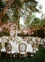 country rustic outdoor backyard wedding ideas with lights decorations