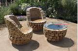 Fazer Fácil: Cadeirões e Mesa de Jardim feitos com troncos de ...
