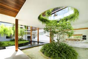 plan with interior courtyard and rooftop garden modern house designs
