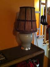 DIY modern rustic lamp; an old lamp without shade and a garden basket ...