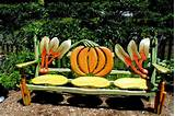 does this colorful garden bench in the vegetable garden of