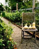 ... Gravel - Squash and a wooden chair on a gravel path in a garden