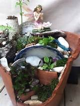 broken pot fairy garden idea