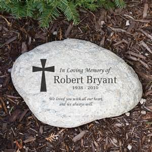 memorial garden stone engraved cross in loving memory garden stone