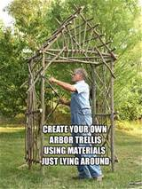 Homemade Arbor Trellis from sticks laying around | Garden | Pinterest