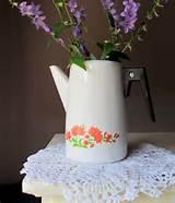 Soviet Vintage Enamel Pot, Enamel Coffee Kettle, White Enamel, Rustic ...