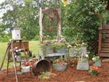 gardening primitive style yard porch flower bed ideas