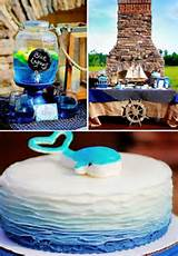 Nautical themed birthday party for Pottery Barn, cake, decorations, s ...