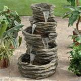 ... Five-Level Rock Pond Waterfall Fountain modern-outdoor-fountains